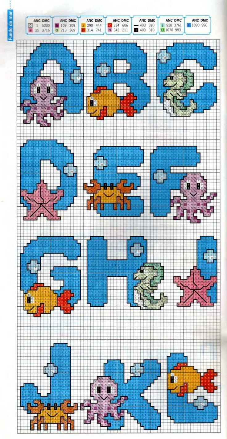 Alphabet A-L undersea pattern