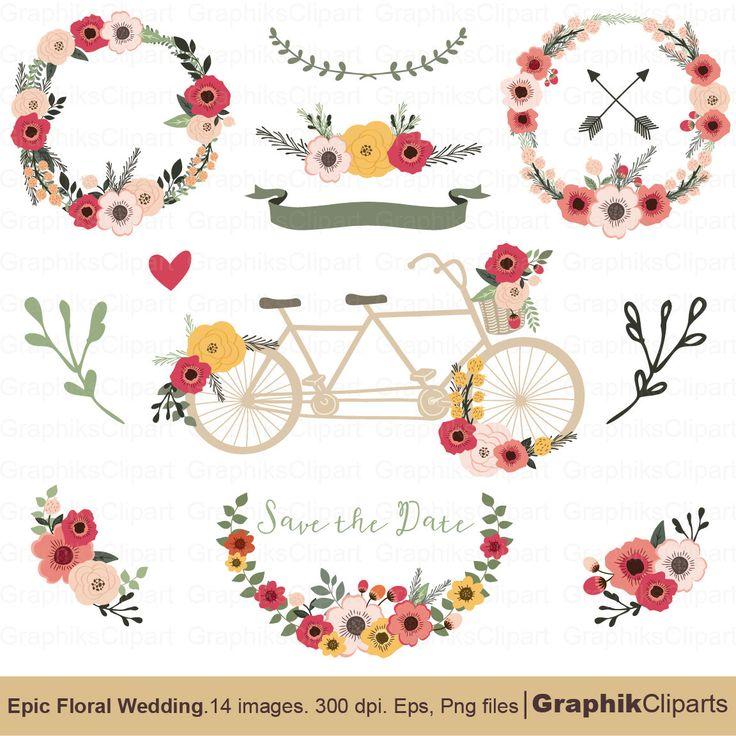 8 best FLORAL CLIP ART + BONUS FREE images on Pinterest Adobe - free invitation clipart
