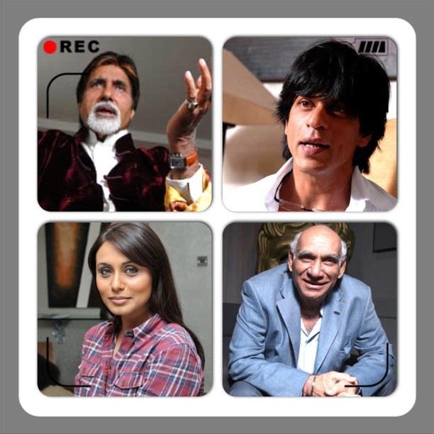 #instacollage #bollywood legends @srbachchan @iamsrk Yash Chopra and Rani Mukherji #actors #director #collage #movies #cinema #sohailanjumphotography www.facebook.com/sohailanjumphotography