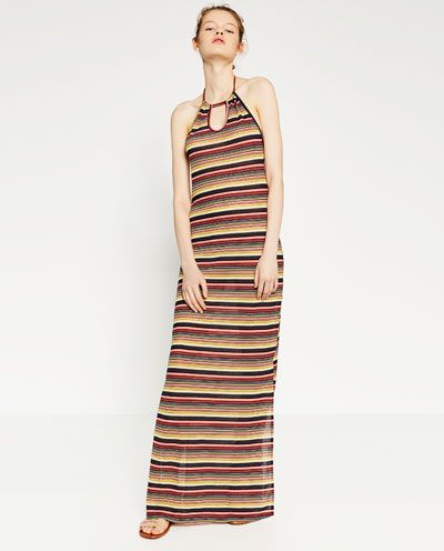 Image 2 of STRIPED HALTER NECK DRESS from Zara
