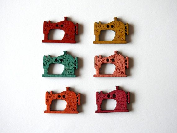 Wooden Button Sewing Machine - 6 pcs