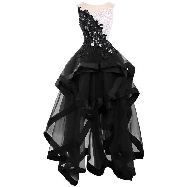 Bess Bridal Women's Lace Organza High Low Prom Party Homecoming... ($120) ❤ liked on Polyvore featuring dresses, party dresses, prom dresses, cocktail prom dress, hi low dress and high low dresses