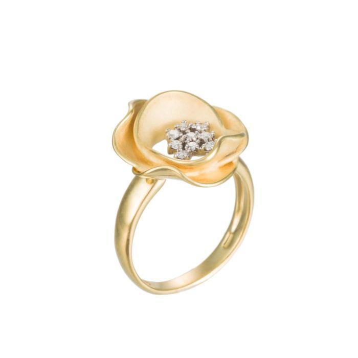 Annamaria Cammilli 18K Yellow Gold & Diamond Rose Ring (=)