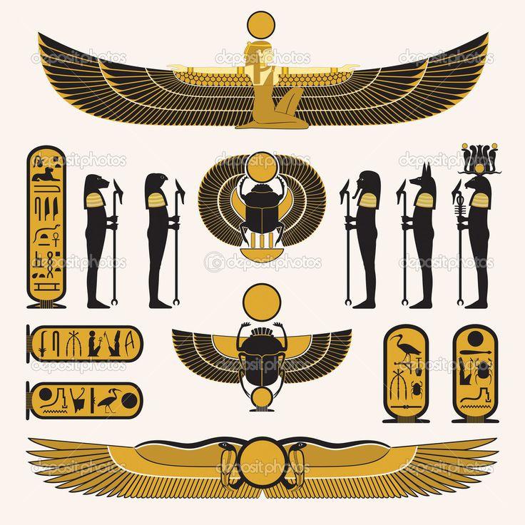 Símbolos egípcios antigos e decorações em design preto amarelo