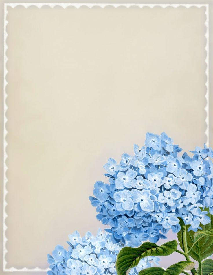 """In Full Bloom"" ~ Vintage blue hydrangea printable stationery, 8.5"" x 11"""