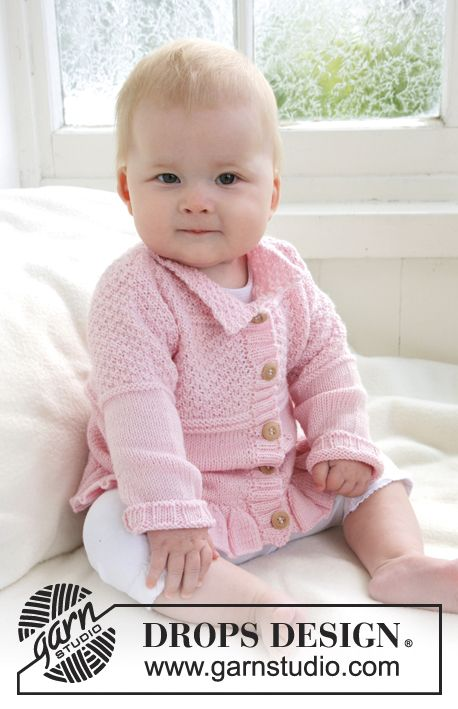 Knitted jacket with wavy edge and textured pattern for baby and children in DROPS BabyAlpaca Silk