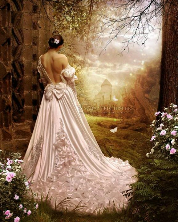 I love the image of a beautiful ball gown in the woods.