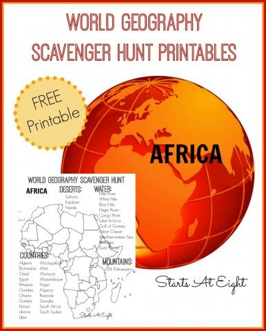 World Geography Scavenger Hunt Printable: Africa from Starts At Eight