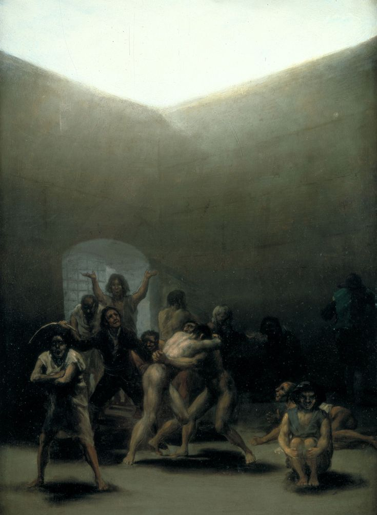 """Goya's 'Yard with Lunatics' on tin. In Goya's words, his series of 11 chamber paintings was completed """"In order to occupy an imagination mortified by the contemplation of my sufferings""""."""