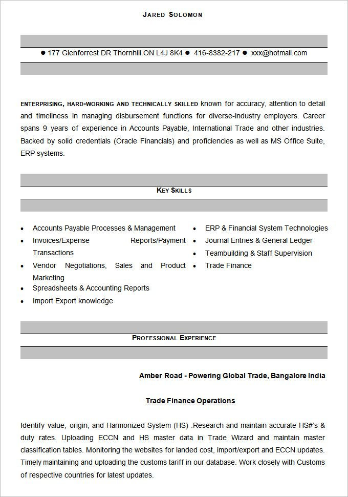resume format accounting