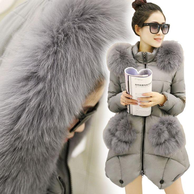 Women's Real Fur Collar Winter Warm Down Jacket Thicken Long Parka Coat Outwear #Unbranded #BasicCoat