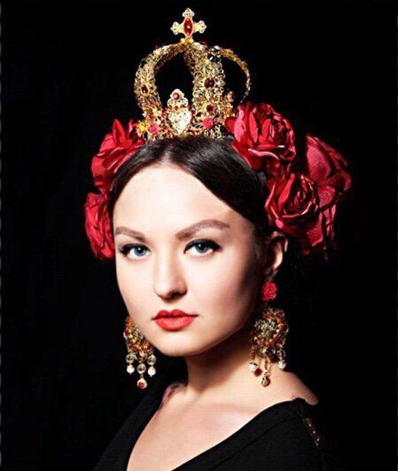 Amani Red Gold Crown Medueval Tiara Red Evil Crown