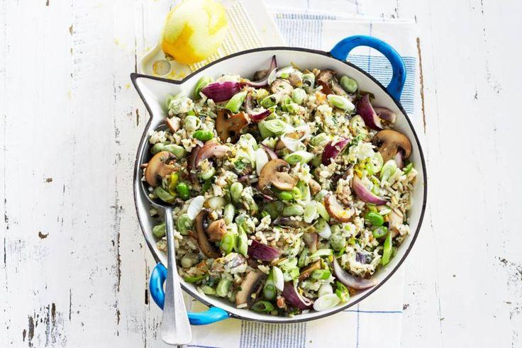 1 februari 2018 - Italiaanse roerbakgroente champignon + Philadelphia roomkaas in de bonus = heerlijk vegetarisch rijstpannetje - recept - Allerhande #bonuskoken