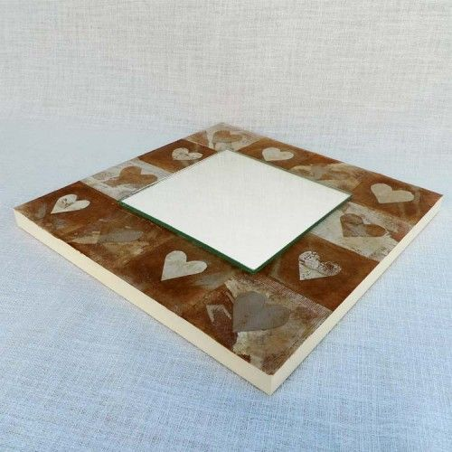 Mirror mounted on Wooden block surrounded with hand painted / crafted recycled tea bags.