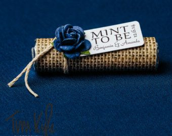 """Something blue for your wedding favors - Set of 24 mint rolls - """"Mint to be""""…"""
