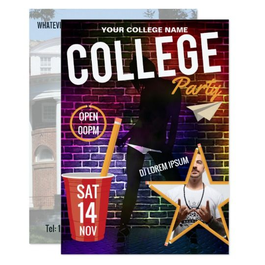 College DJ Party announcement add logo and photos