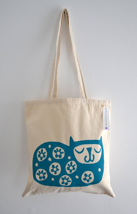 Cat Tote Bag by Katy Webster Hand Screen Printed Happy Cat Design in Turquoise