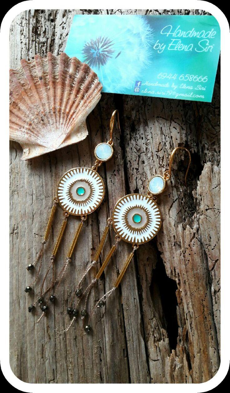 Handmade Boho earrings with swarovski & hematite_gems