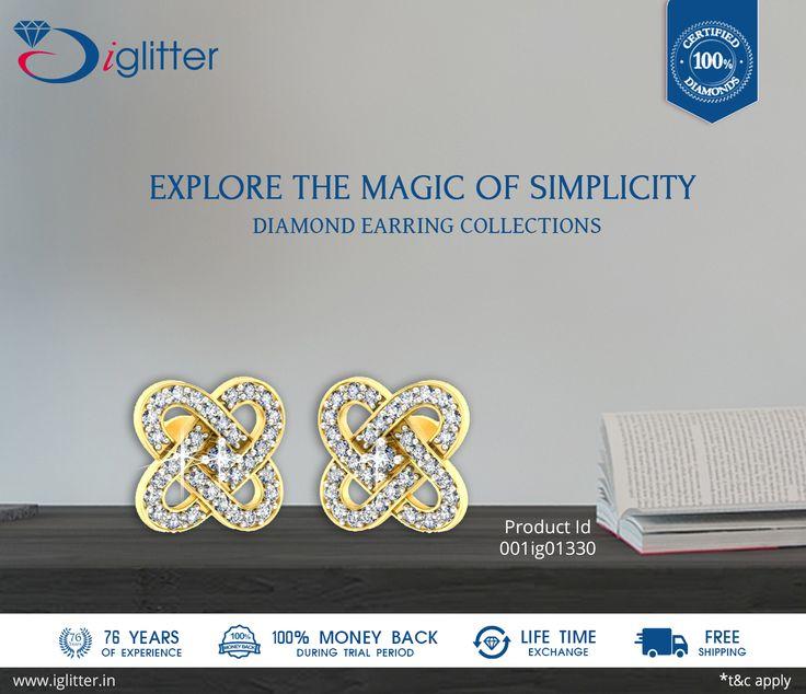 Explore the Magic of Simplicity ♥♥ Shop Now : http://bit.ly/1QJisFD  #iGlitterindia #Diamonds #Earrings #Jewellery