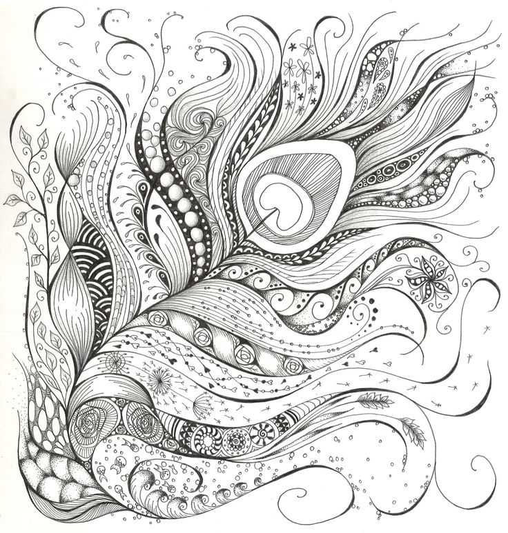 Peacock feather Zen Doodle