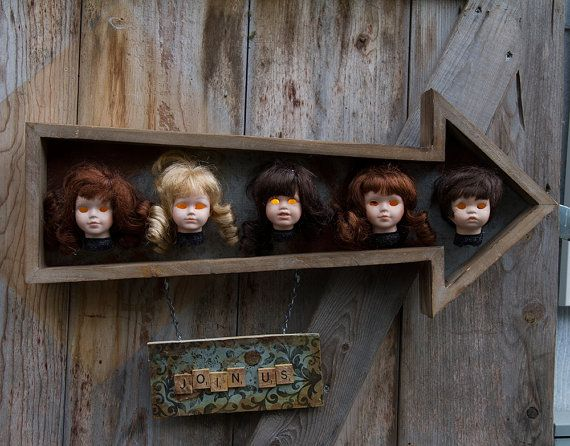 Rustic and Creepy Porcelain Doll Head Lamp by ChainsawEstates