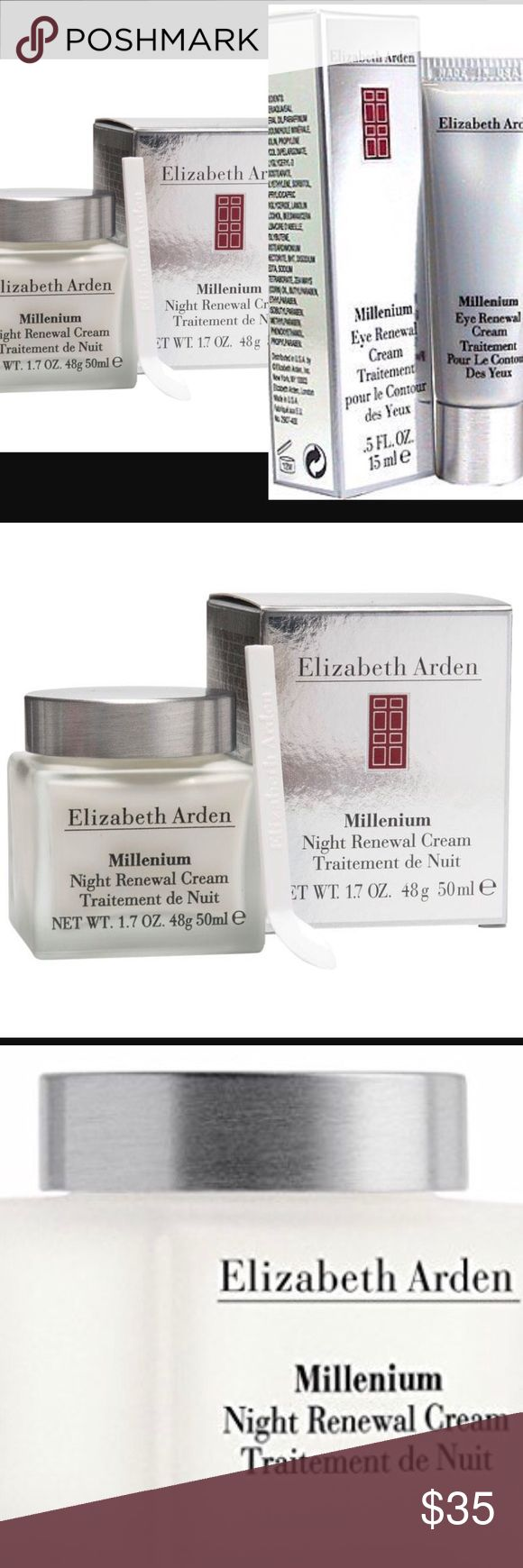 Elizabeth Arden millennium renewal cream bundle Elizabeth Arden millennium night cream NIB 1.7 oz This rich-textured cream replaces daily moisture loss while you sleep and smoothes the look of fine lines. Clinically and dermatologist tested.  Elizabeth Arden Millenium Eye Renewal Cream--/0.5OZ Design House: Elizabeth Arden new in box Sephora Makeup Eyeliner