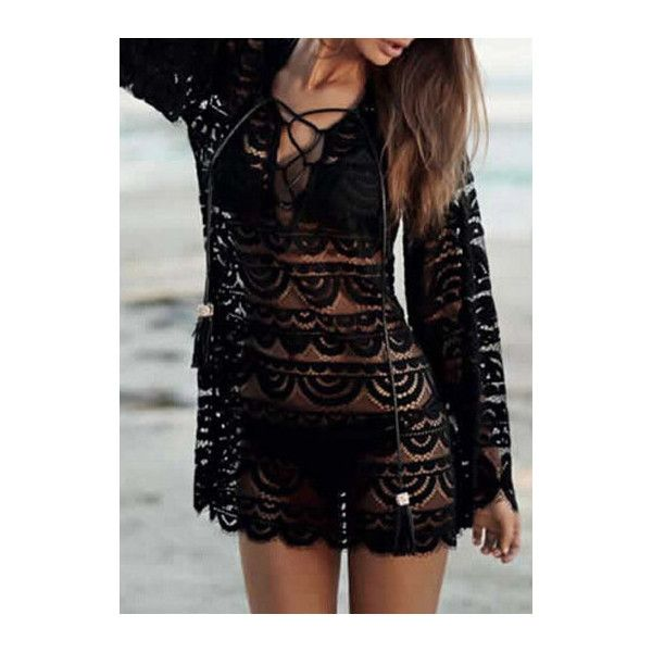 Rotita Long Sleeve Lace Solid Black Cover Ups (15.595 CLP) ❤ liked on Polyvore featuring swimwear, cover-ups, black, black cover ups, cover up swimwear, black beach cover up, lace swimwear and lace cover up