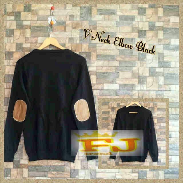 sweater rajut pria VNECK ELBOW BLACK,  harga 39k www.ramailancar.com www.facebook.com/tokobajurajutmurah 0857 2212 6318