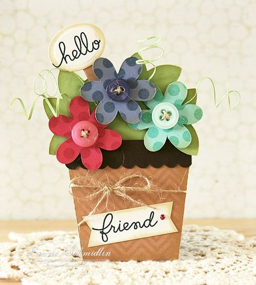 Flower pot card kit from Silhouette store