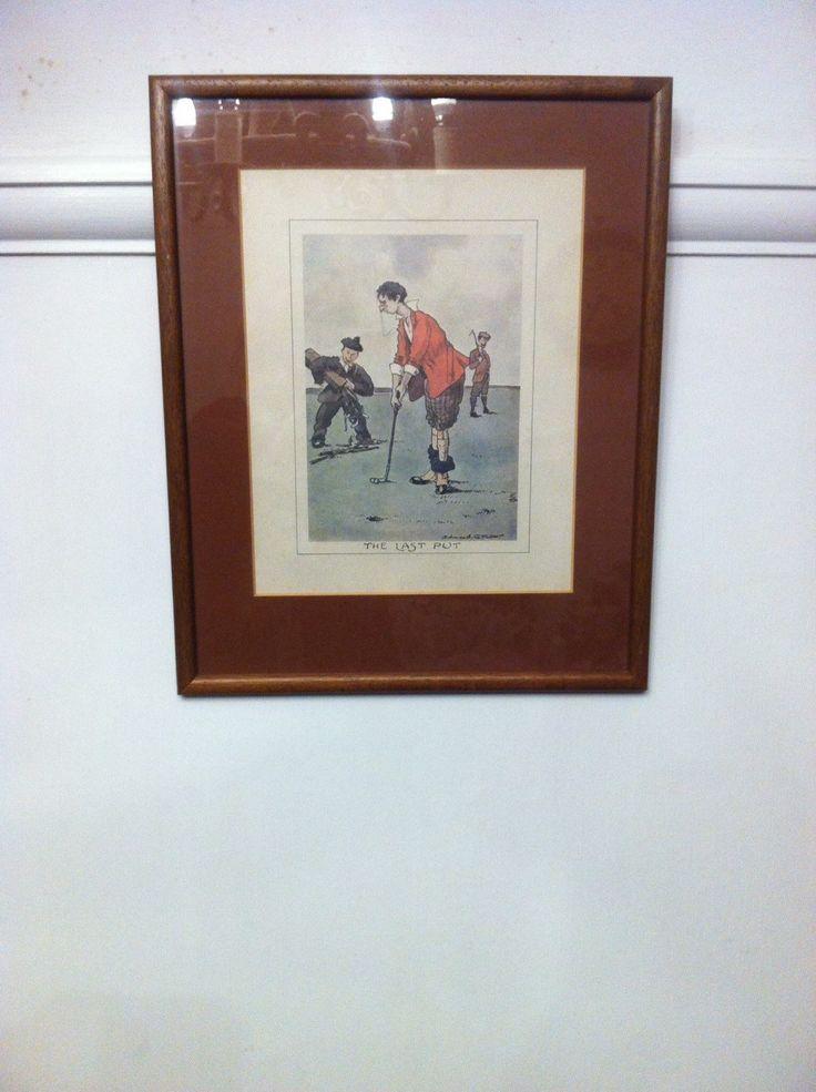 Vintage golfing print 'The Last Put' by Edmund G Fuller