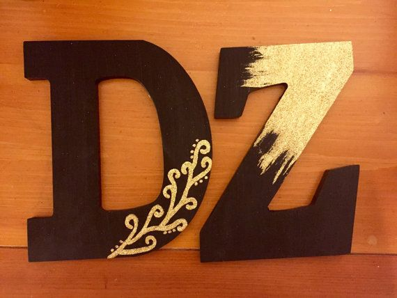 Delta Zeta Black And Gold Glitter Decorated by CrimsonPearls