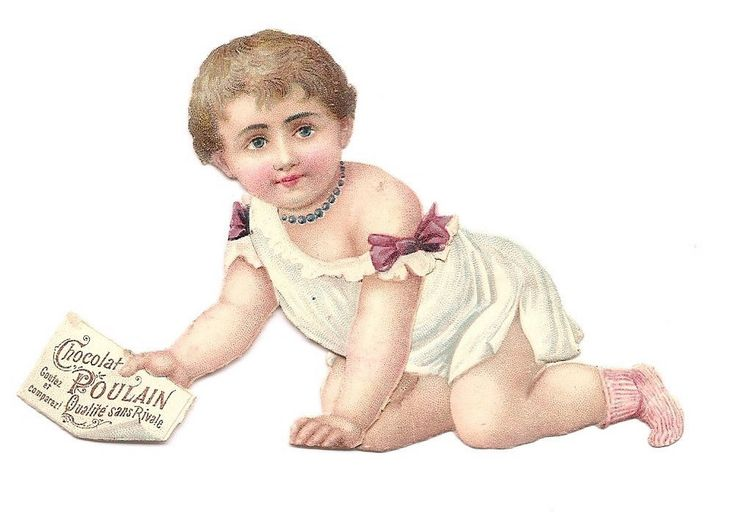 Bébé - Ruban Rose Chocolat Poulain - Chromo Decoupi  Victorian Scrap  Oblaten