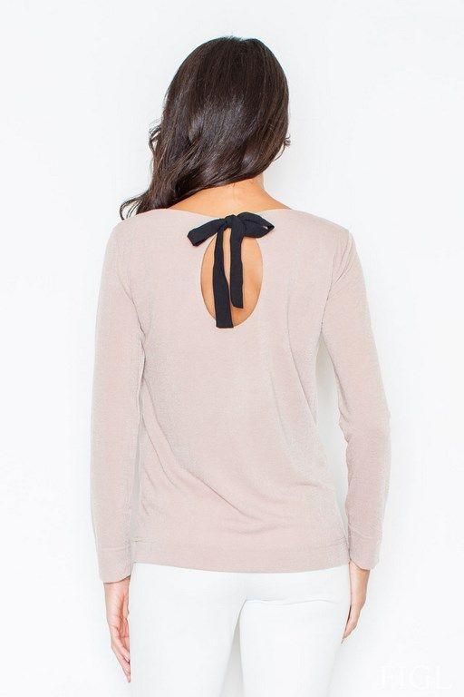 Beżowy sweterek damski z odkrytymi plecami