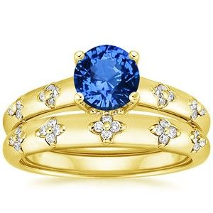 18K Yellow Gold Sapphire Blossom Matched Set