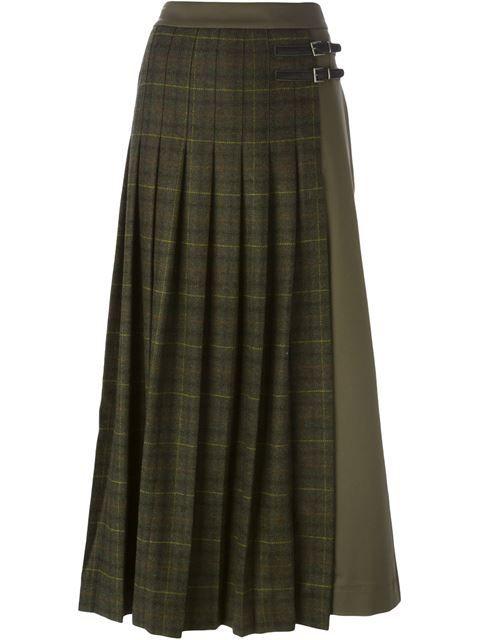 plaid buckled long skirt