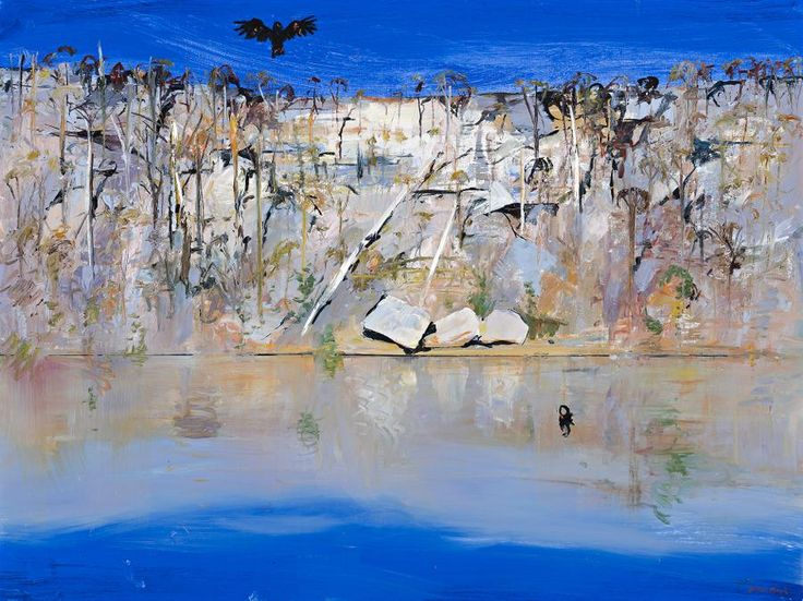 ARTHUR BOYD (1920 – 1999) SHOALHAVEN WITH BLACK COCKATOO AND SWAN oil on canvas 92.0 x 122.5 cm signed lower right: Arthur Boyd $90,000 – 120,000