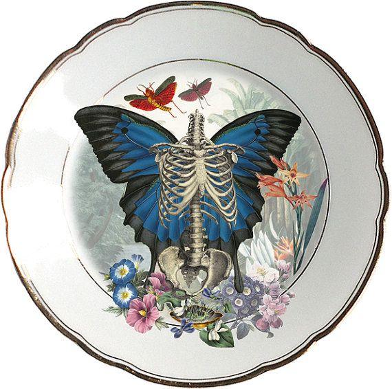 Skeleton n' wings Plate  Altered Antique by ArtefactoStore on Etsy, €38.00