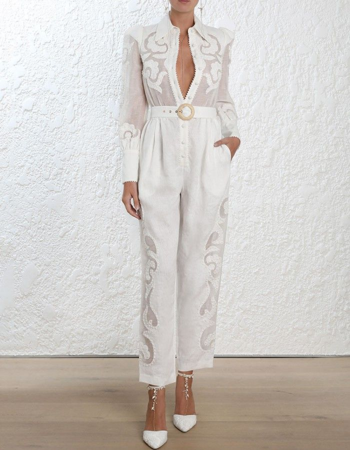 265ace6c2349 Zimmermann Radiate Applique Jumpsuit. Model Image. Fits true to size take  your normal sizeOur model is 5 9 5 178 cm bust size 32C 10C and is wearing  a size ...
