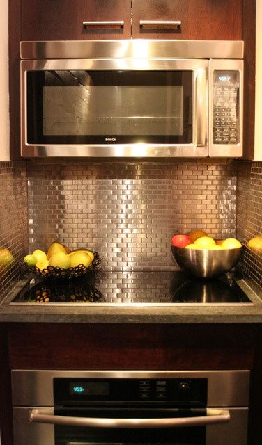 I Love The Metallic Backsplash Tiles It Goes Well With Our White