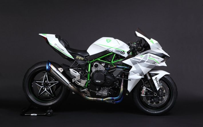 Download wallpapers Kawasaki Ninja H2R, Trick Star, sportbike, white Ninja, white sports motorcycle, Kawasaki
