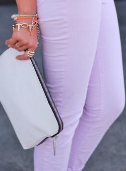 Colored purple jeans