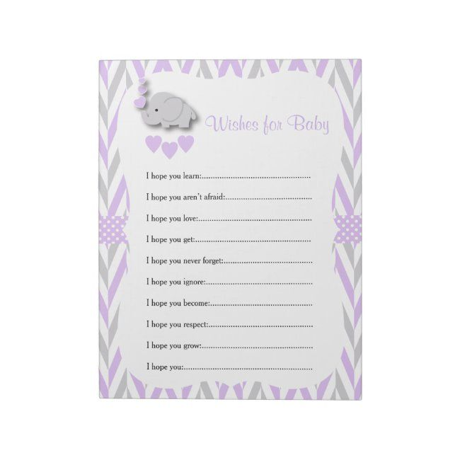 Printable Pink and Gray Chevron I Hope You Game Baby Shower Game Sheet for Wishes for Baby Ready to Print!