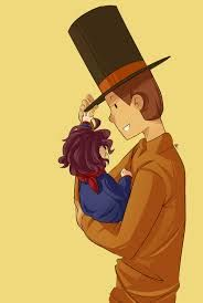 Professor Layton with his son, Alfendi Layton when he was a baby. Awwwwwwww, such a cute picture of the father and his son!