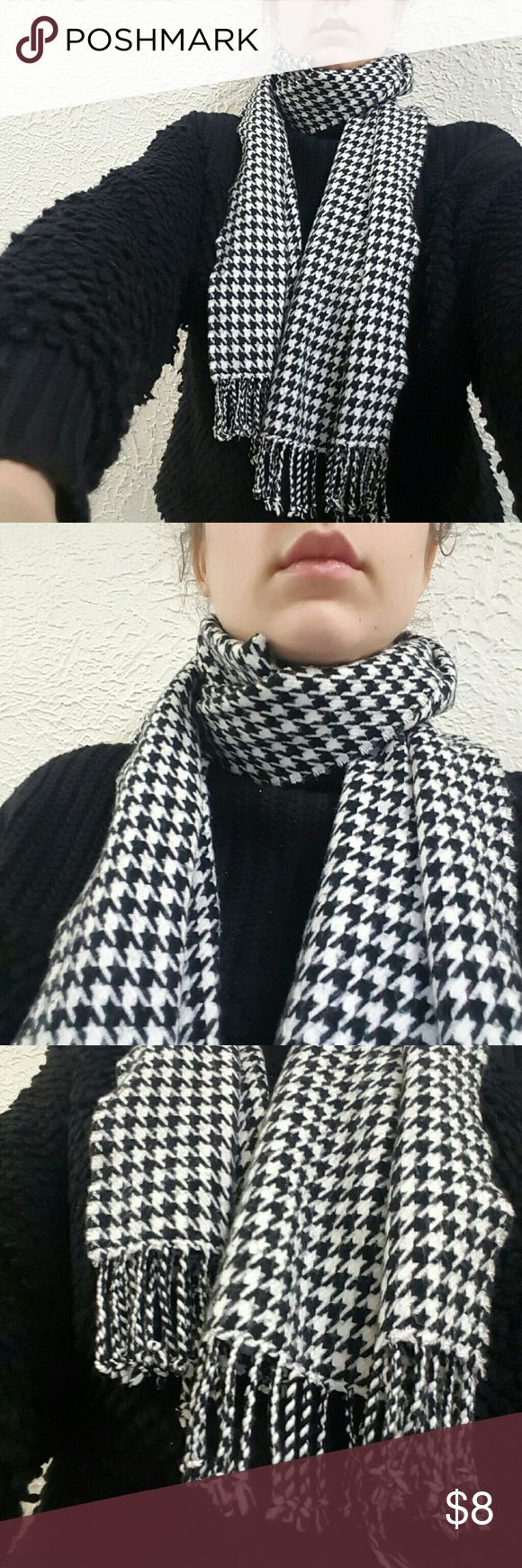 Houndstooth Scarf Black and white print houndstooth scarf with tassels. No tag, don't know the fabric. Please do not buy if you have any allergies!! Accessories Scarves & Wraps