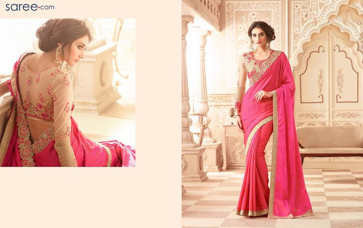 This Indian saree with floral motifs cut-work lace border is a beauty to beckon. The big floral thread motifs embroidery on the blouse gives it a touch of elegance, which surmounts the plainness of this silk saree. This indigenous pink saree is sure to grab everyone's attention, when you flaunt it at a post marriage lunch or dinner parties. The floral embroidery with pink thread work on this sheer designer full-sleeve blouse will accentuate your looks