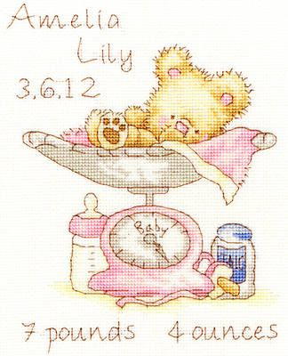 Cross Stitch Birth Samplers | Huggles Featherweight baby girl birth sampler cross stitch kit