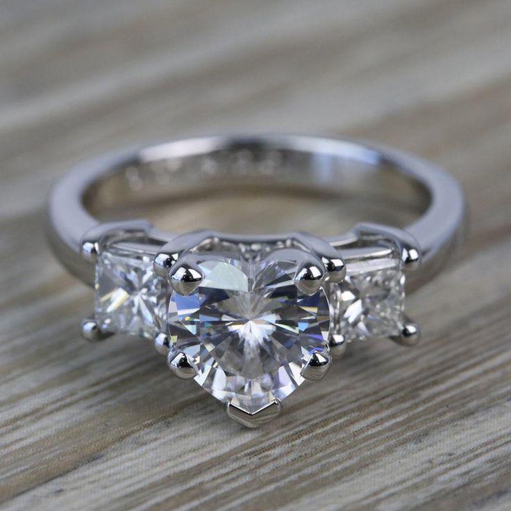 6.5mm Heart Moissanite & Princess Diamond Engagement Ring