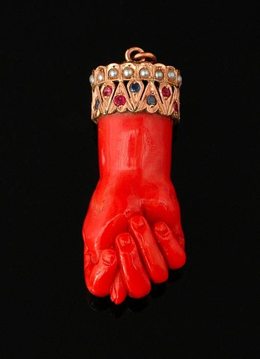 Coral Mano Fico (Figa) amulet pendant  Clenched fist amulet in carved coral for protection against the evil eye with a mount set with pearls rubies and sapphires