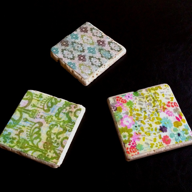 Homemade decoupage drink coasters gift it pinterest for Handmade drink coasters