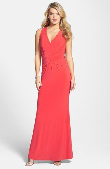 Laundry by Shelli Segal Ruched Cross Back Jersey Gown available at #Nordstrom